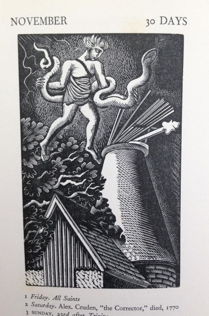 """""""November"""" by Eric Ravilious. The wood engraving is taken from the """"Almanack 1929"""" for the Lanston Monotype Corporation. Ravilious placed mythical figures relating to each month against his characteristic Sussex landscapes."""