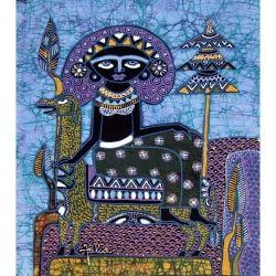 Batik Fabric Panel by Jaka, Woman on Boat on Blue