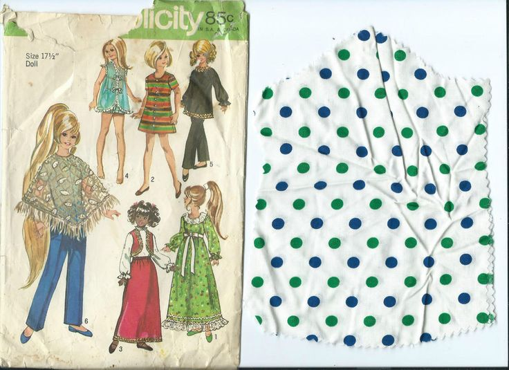 """S 9138 sewing pattern 17½"""" Crissy Velvet DOLL CLOTHES & polka dot Fabric cut out #Simplicity9138 #17DollClothes"""