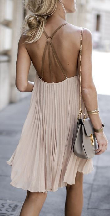 #summer #fashion / pleated nude dress