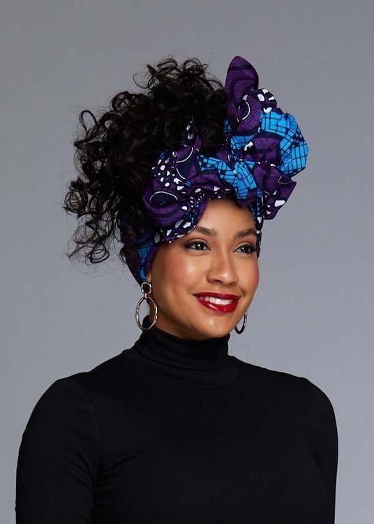 African Print Head Wrap/Scarf (Blue/Purple Swirls)   – It's A Wrap