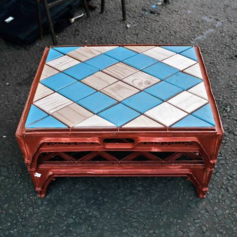 """Love this coffee table, made from reused bakery crates and tiles. One of those """"why didn't I think of that?"""" moments."""