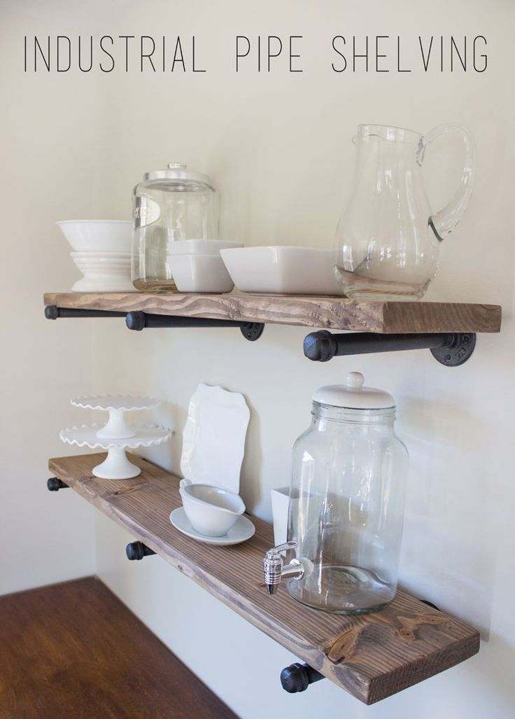 Restoration Hardware Shelving for a quarter of the cost. Full tutorial with pictures!