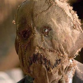 The burlap mask made famous by the Scarecrow character in