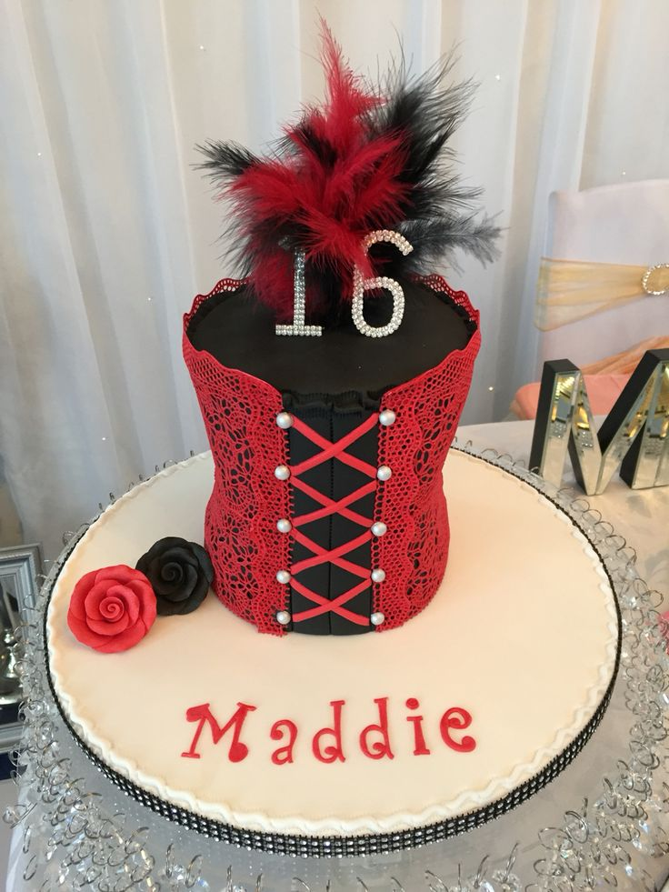 Corset cake with hand made edible red lace