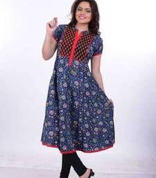 Buy Navrachna Woman Blue Kalamkari Cotton Casual/Party Wear Kurti with Embroidery and Short Sleeve kurtas-and-kurti online