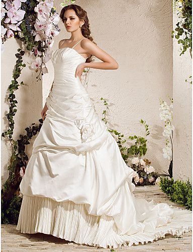 A-line Spaghetti Straps Chapel Train Satin Wedding Dress - EUR € 494.99