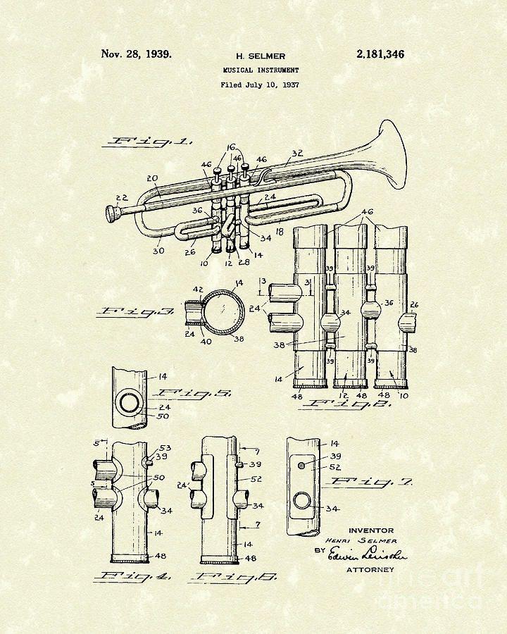 USA Patent Drawing  wind brass TRUMPET Music Instrument MOUNTED PRINT 1906 Gift