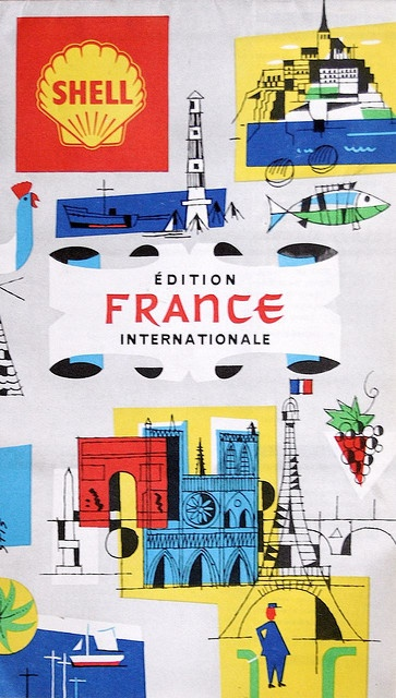 A vintage map of France, published by SHELL, printed in 1962.