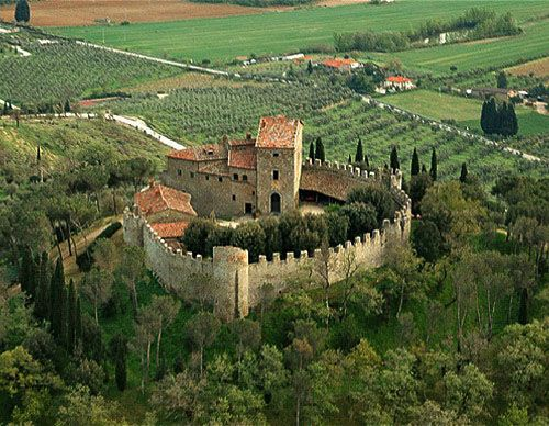 Montegualandro Castle, overlooking Lake Trasimeno, on the Tuscany-Umbria, Italy. www.castlesandmanorhouses.com Recently up for sale at £5,000,000. Now sold!