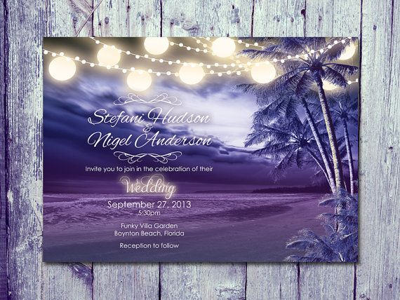 Printed Card - 50-170 Sets - Paradise Night Beach Wedding Invitation and Reply Card Set - Wedding Stationery - ID309