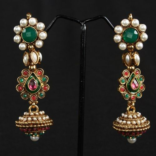 Multi Color Antique Earrings With Kundans 100 - Online Shopping for Earrings by Prakruthi