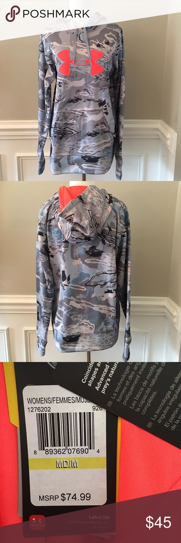 SIZE MEDIUM- Under Armour Women's Camo Hoodie NWT!  Under Armour Hoodie, Size Medium (Women's).  Colors are gray, white, and blue Camo print- with a neon orange interior! Under Armour Tops Sweatshirts & Hoodies