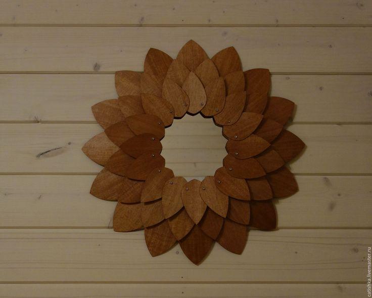 Купить Панно из шпона махагона с зеркалом - коричневый, красное дерево, панно в спальню, зеркало для прихожей