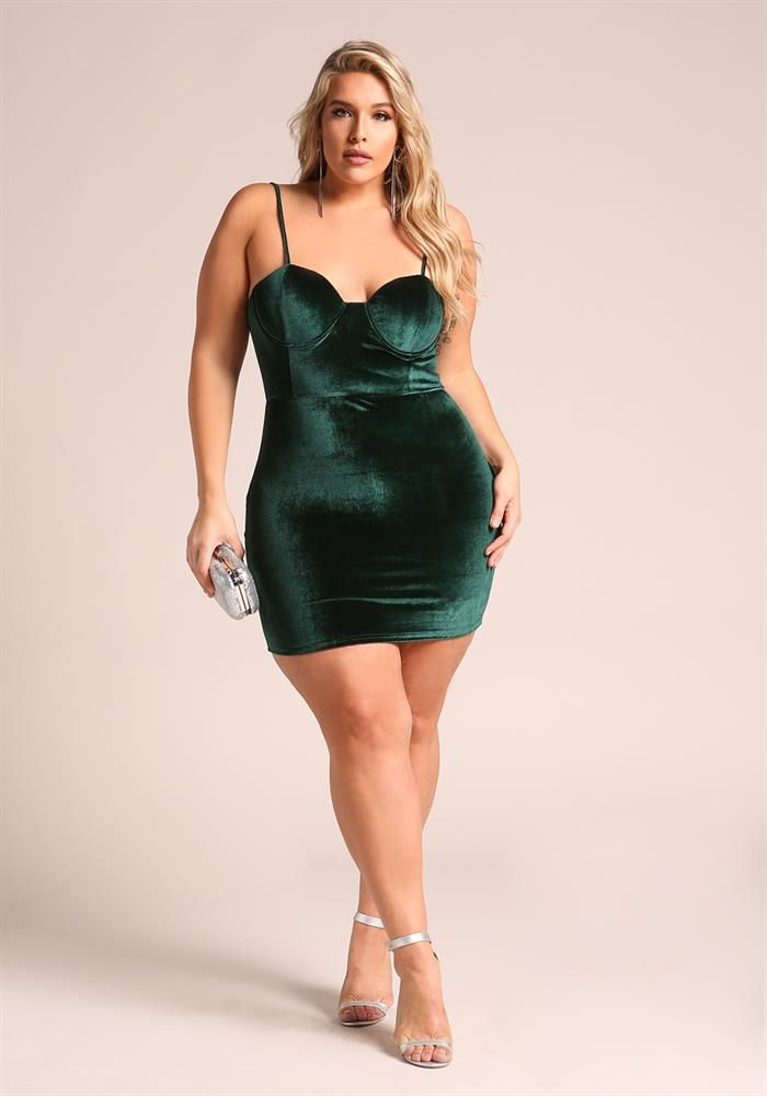 Plus Size Clothing | Plus Size Velvet Bustier Bodycon Dress | Debshops