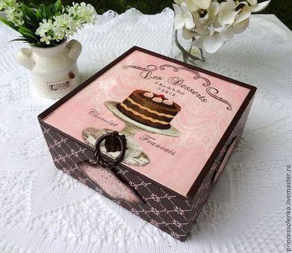 """""""Шоколадная радость"""" Короб-пенал для чая, сладостей, винтаж,декупаж -"""