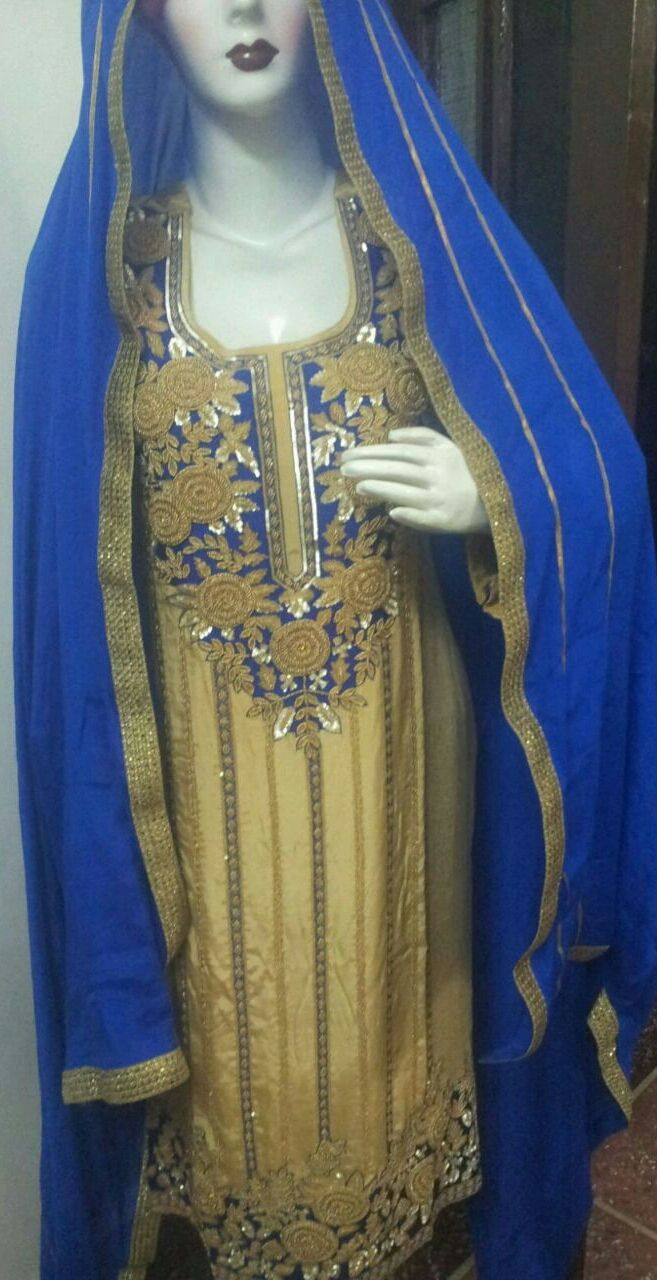 Hand Embroidered Pure Creap Silk Suit In Beige Color With Royal Blue Bottom , With Pure Chinon Chiffon Dupatta