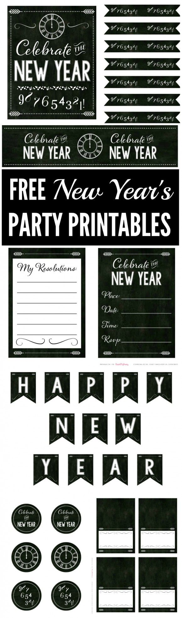 Free Chalkboard New Year's Party Printables filled with everything you need to throw a great New Year's Eve party or New Year's day party!   CatchMyParty.com