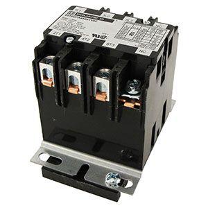 Contactor General Electric americano para las cajas eléctricas, con base de metal. Contactor G.E. de potencia para el panel principal del Pivot.