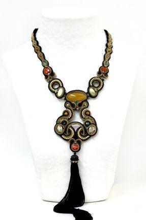 Gotham high fashion statement tassel necklace by Dori Csengeri #DoriCsengeri #statementnecklace #tasselnecklace #fallcolors
