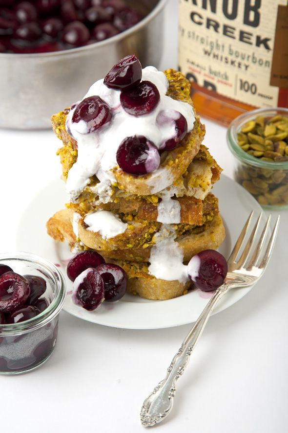 French Toast with Bourbon Maple Cherry Topping & Coconut Whipped Cream ...