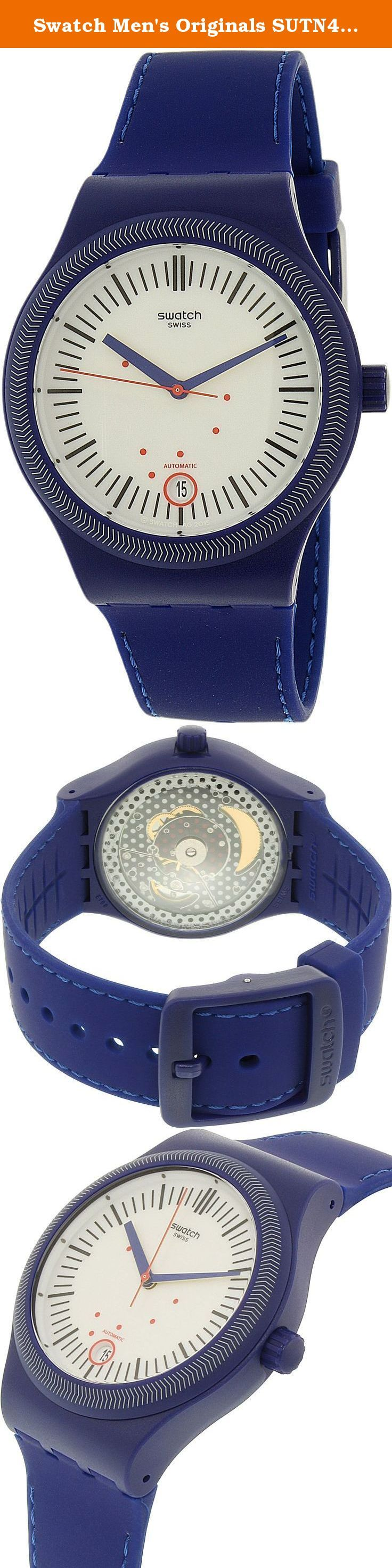 Swatch Men's Originals SUTN401 Blue Silicone Automatic Watch. Who says casual and classy dont mesh Theres always a way to make it work Laid-back doesnt have to mean boring or drab and this Swatch Originals watch is proof for those who doubt it Its the perfect in-between a duo of dapper and down-to-earth It features a 41MM plastic case that makes for a dapper appearance right off the bat and creates a subtle contrast against the watchs white dial thats perfectly pleasing to the eye The…