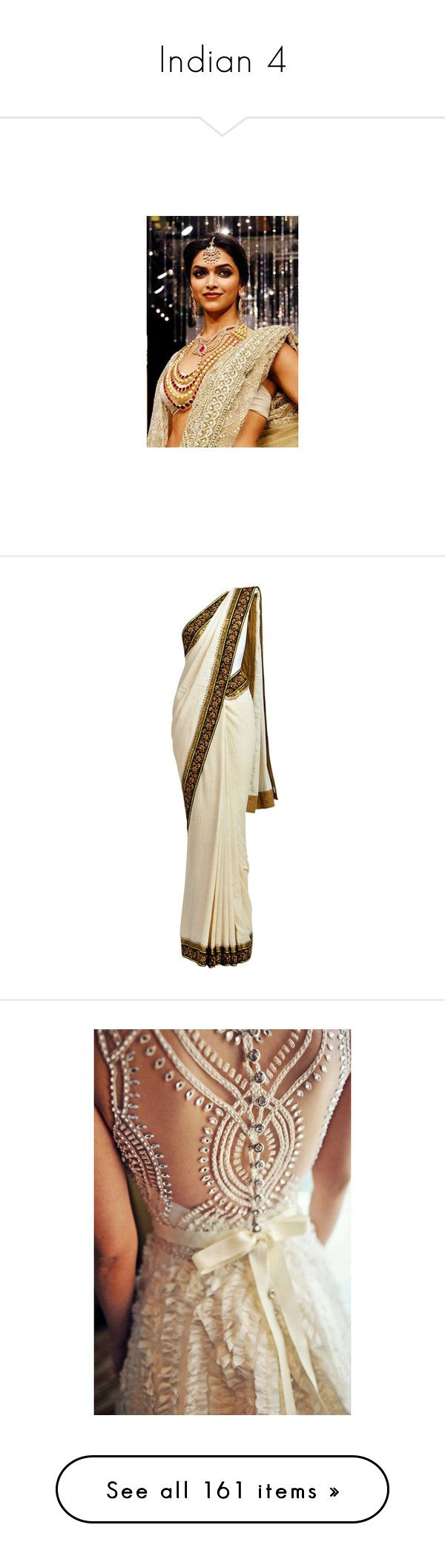 """""""Indian 4"""" by o-hugsandkisses-x ❤ liked on Polyvore featuring dresses, gowns, long dresses, sari, wedding dresses, backgrounds, wedding, pants, embroidered pants and cream pants"""