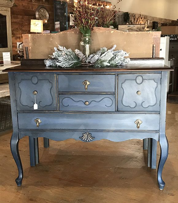Vintage buffet painted in Aubusson Blue Chalk Paint® and finished with Clear and Black Wax®.