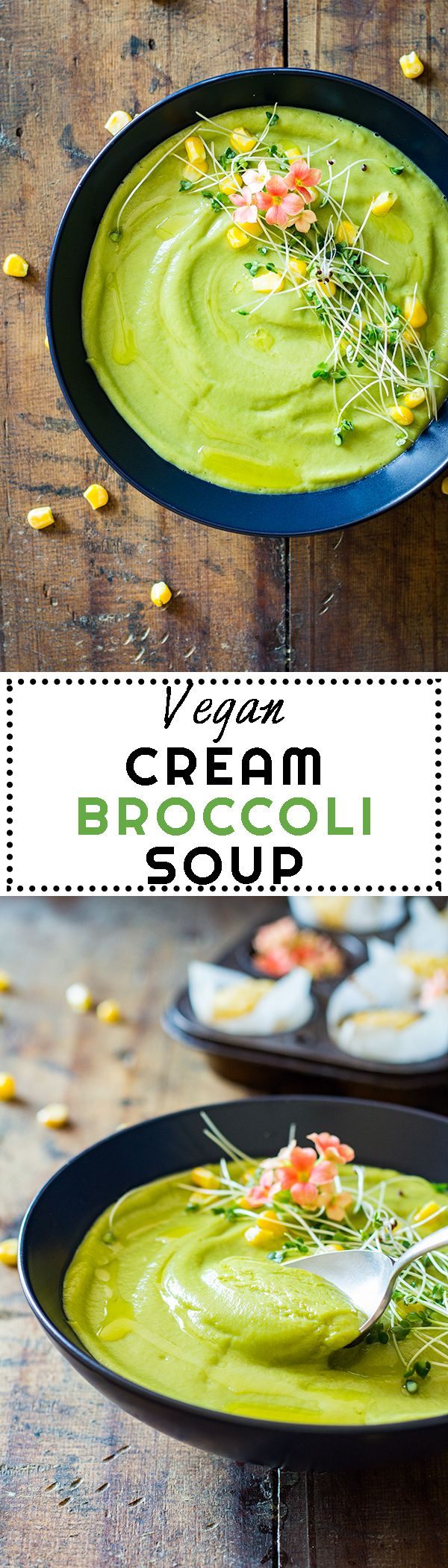 The creamiest nut-free and low fat Vegan Cream Broccoli Soup the world has seen and tasted. Roasted Garlic for taste, cooked broccoli for color and nutrition, vegetable broth for warmth and corn kernels for fun.