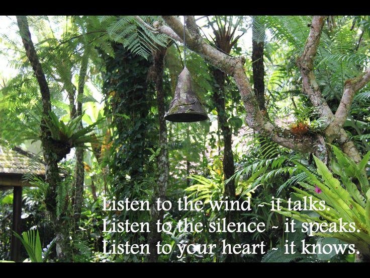 Listen to the wind ~ it talks. Listen to the silence ~ it speaks. Listen to your heart ~ it knows.