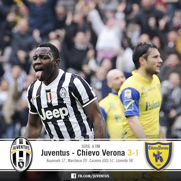 Juventus - Chievo Verona 3-1 (Asamoah, Marchisio, Caceres (AG), Llorente)