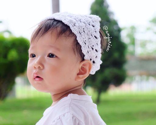 Anjurisa: Preppy Kerchief by Claire Ortega-Reyes Crocheted kerchief aka headscarf