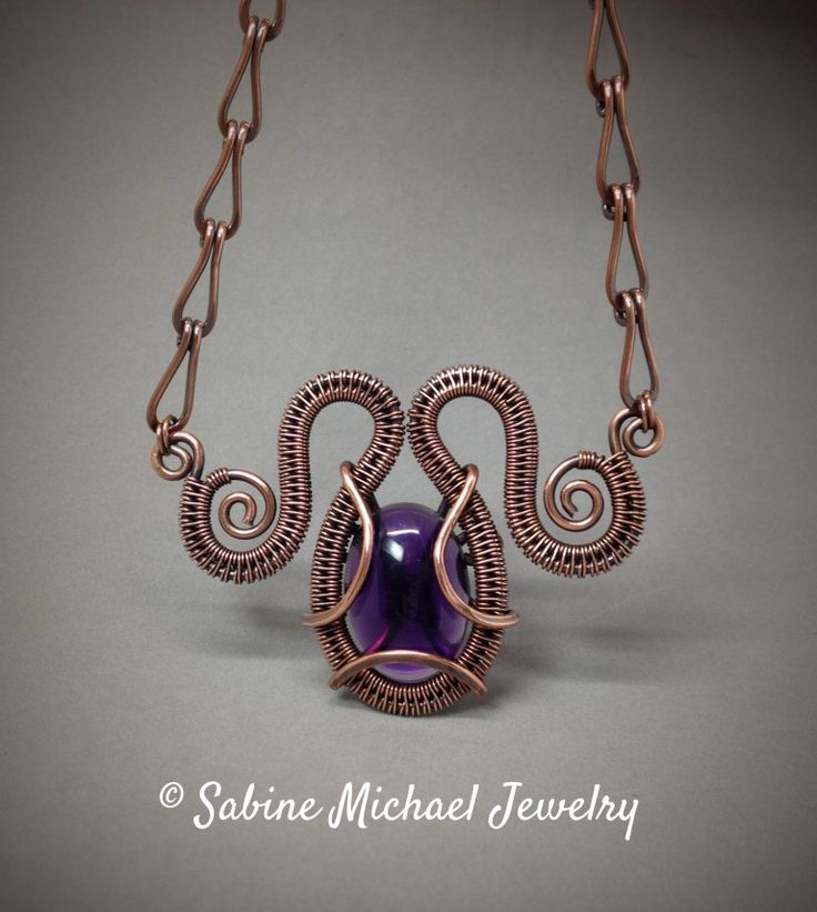 """Wire Weave Amethyst """"Femme Fatale"""" Necklace by Crystal ..."""