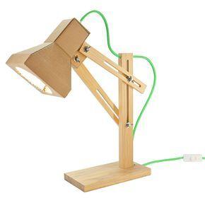 Luminária Tupac - R$ 475,00  Inspirada em um grande ícone do hip-hop, a luminária Tupac é uma solução bonita e descontraída para a iluminação de mesas de trabalho ou leitura.  Ela é feita de madeira de reflorestamento, papelão e fio com revestimento têxtil colorido.