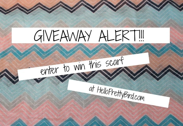 HelloPrettyBird.com and Stack 'em Modern Style Boutique are giving away this fun chevron-print scarf! Open worldwide. Giveaway closes at 11:59PM EST on June 4th, 2014. To enter, visit: http://www.helloprettybird.com/2014/05/giveaway-win-infinity-scarf-from-stack.html