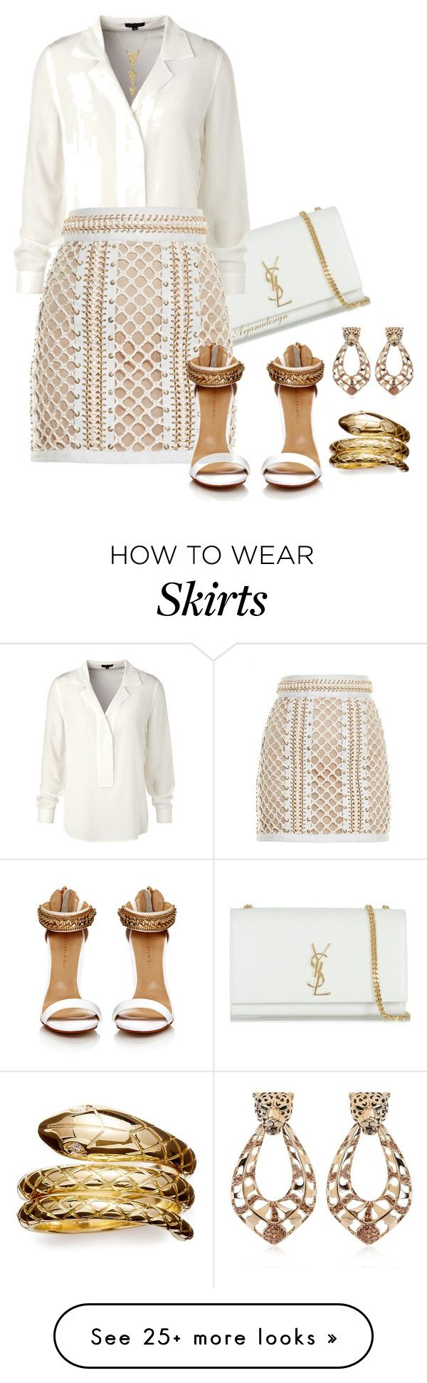 """BALMAIN LACE-UP MINI SKIRT"" by arjanadesign on Polyvore featuring Yves Saint Laurent, ESCADA, Balmain, Temple St. Clair, Roberto Cavalli, skirts and balmain"