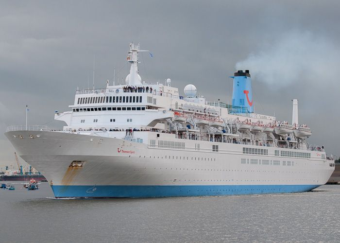 Thomson Spirit pictured departing North Shields on 23rd August 2014