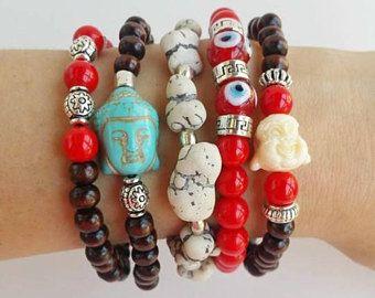 joyas festival de estilo - pulsera de apilamiento - Boho - Buda de mal de ojo - estiramiento joyería de pulseras - pila de pulsera - ibiza - capas boho