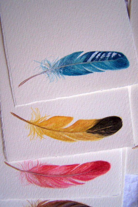 hand-painted feathers