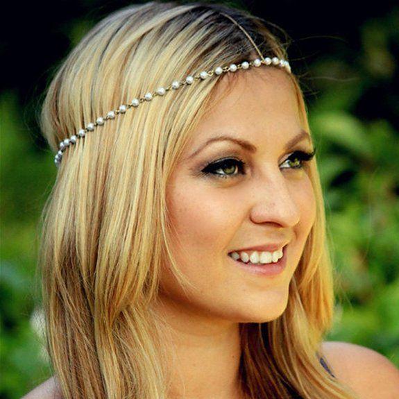 HITOP Damen Einzigartig süß handgefertigt Haarband Retro Hand-Perlen Perlenstirnband Stirnband 2 in 1 Kopfschmuck Halskette Mode Braut Kopfs...