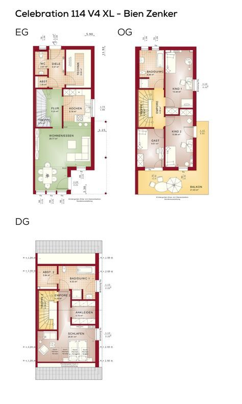 Doppelhaus Grundriss Schmal Architektur Modern Mit Satteldach 5 Zimmer Erdgeschoss Offene Küche Erker Obergeschoss 3 Kinder Balkon Grundrisse