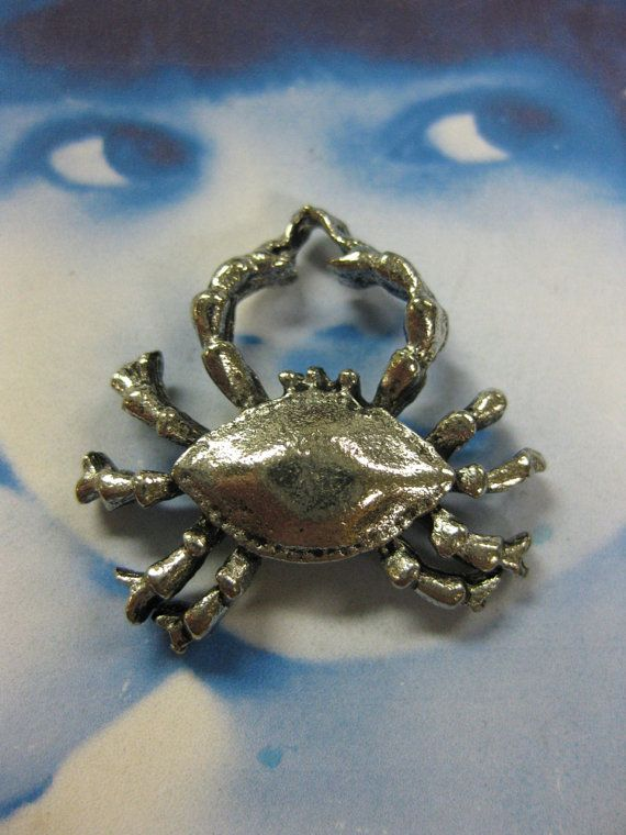 Antique Silver Plated Pewter Crab Charms By Dimestoreemporium