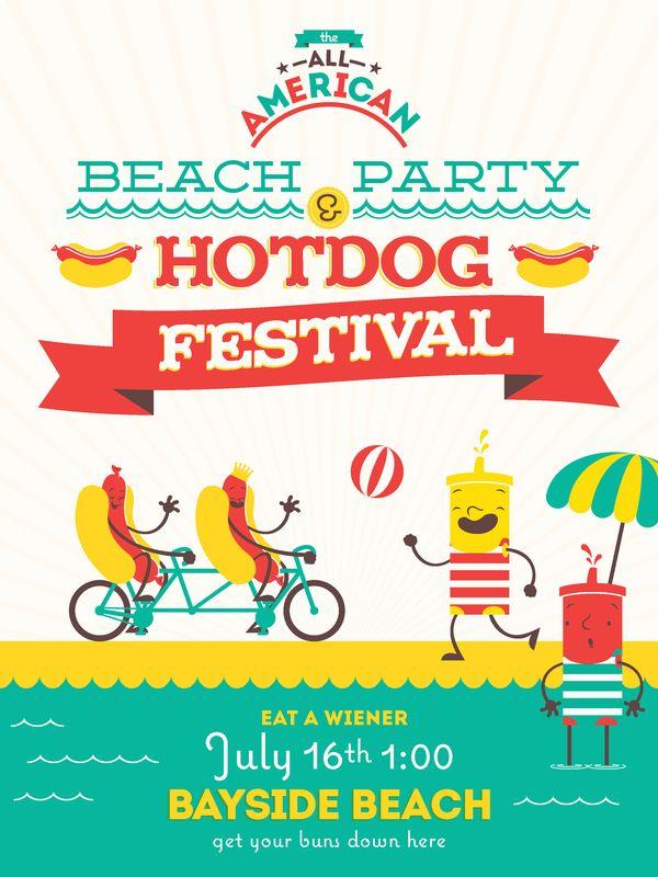 Beach Party & Hotdog Festival by Daniel Clark, via Behance