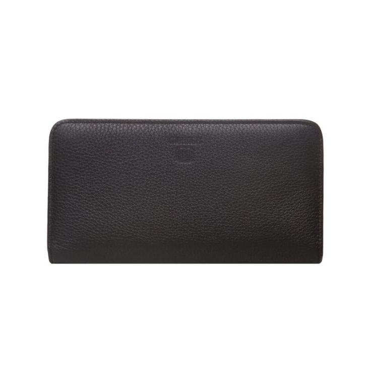 MUANGA | Grace Continental Wallet in black grain leather with interior details in rose quartz calf leather.