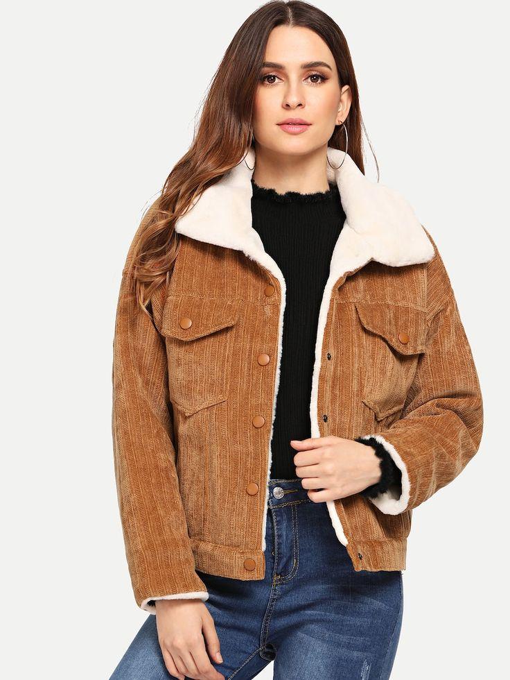Faux Fur Lined Corduroy Jacket -SheIn(Sheinside) | fshn2 ...