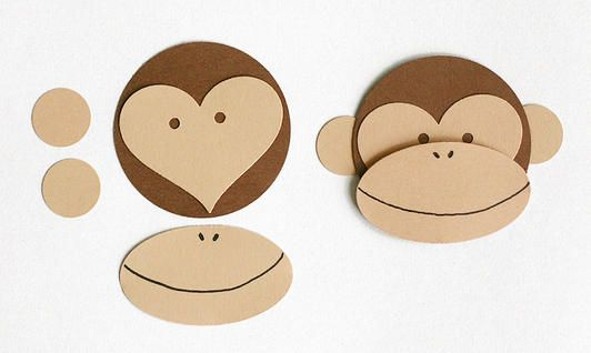easy craft monkey for cards, fun or valentines day :D cut out the pieces and let the kids piece them together