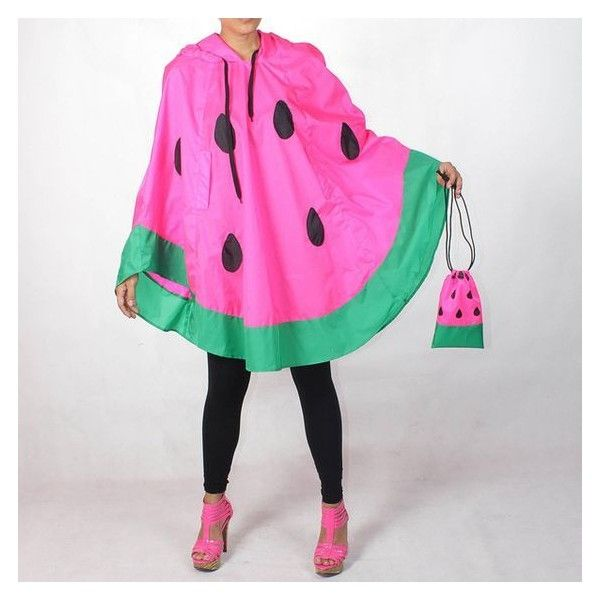 Neon Pink Watermelon Waterproof Rain Poncho ❤ liked on Polyvore featuring outerwear and waterproof poncho