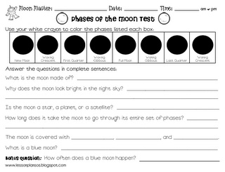 Phases of the moon test freebie.  Check the site for a matching study guide!