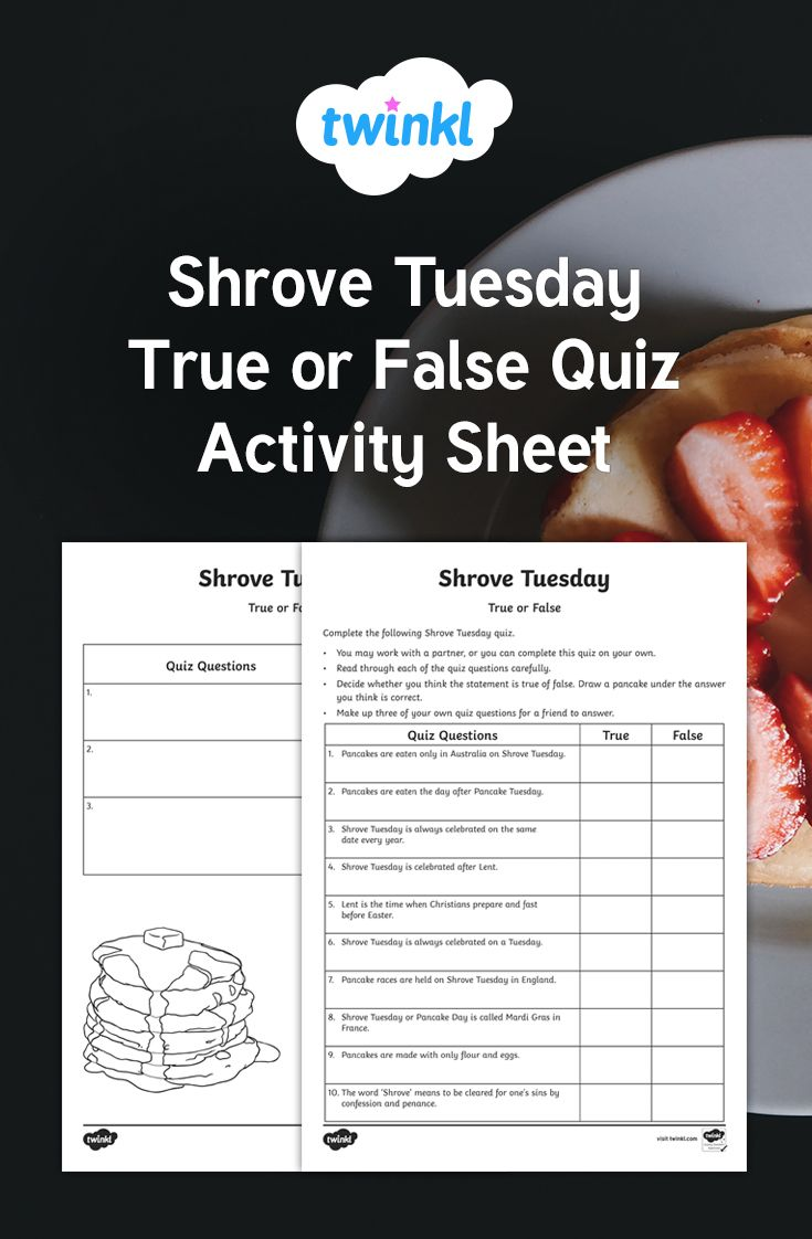 Pin On Pancake Tuesday Create true or false quiz