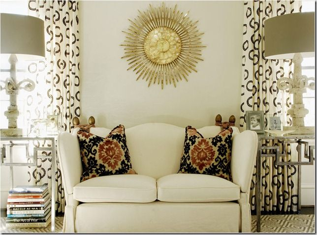 All furniture + Styling: Lamps, Curtains, Living Rooms, Sunburst Mirror, Accent Pillows, Colors, Interiors Design, Flakes, Sit Area